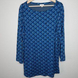 JJill Ponte Jacquard Print Tunic Top Blue Size XL